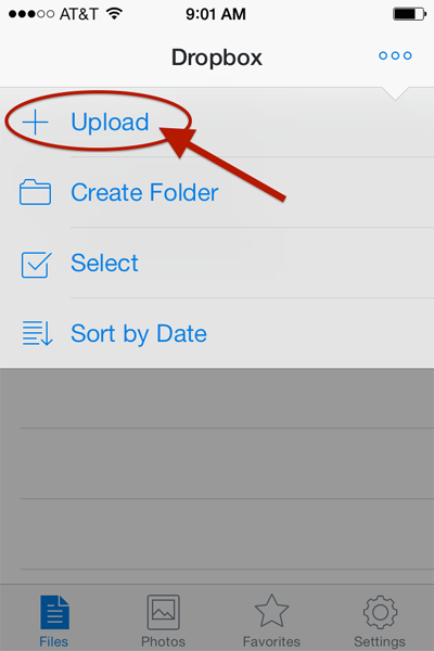 How to manually upload photos and video to Dropbox from your